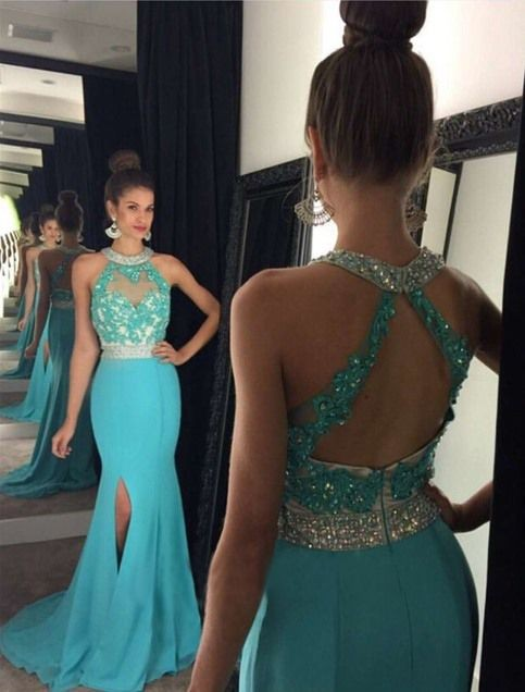 Gorgeous Mermaid Crystal Prom Dresses Evening Gown Halter Side Split Prom  Dress with Lace Appliques Blue 94da1a7e9924