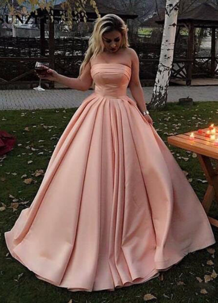 Blush Pink Strapless Ball Gown Prom Dress, Satin Formal Gown ...