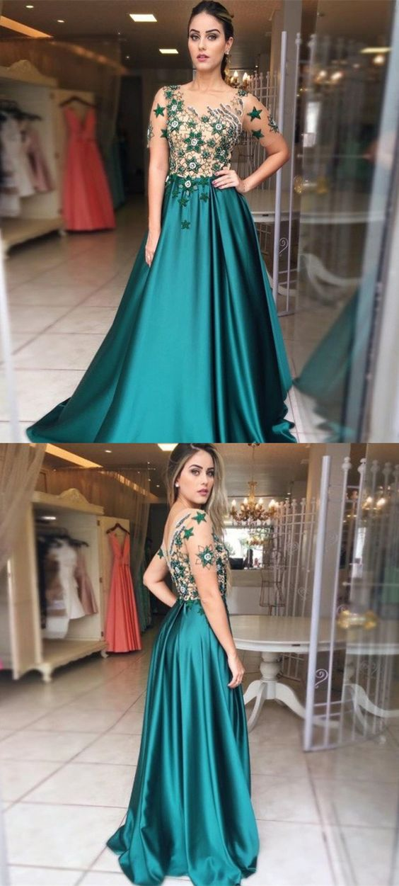 dd705efc0e27 A-Line Round Neck Short Sleeves Hunter Prom Dress with Embroidery, modest hunter  long prom dresses with sleeves, elegant short sleeves long evening dress