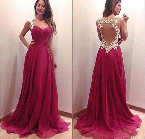 Custom Made A Line Sweetheart Neckline Dark Red Backless Prom