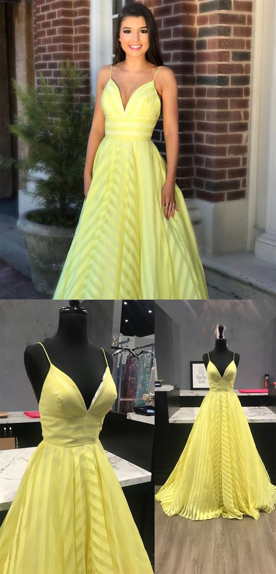 aaab298b2d6 Simple Yellow Spaghetti Straps Ball Gown Prom Dresses