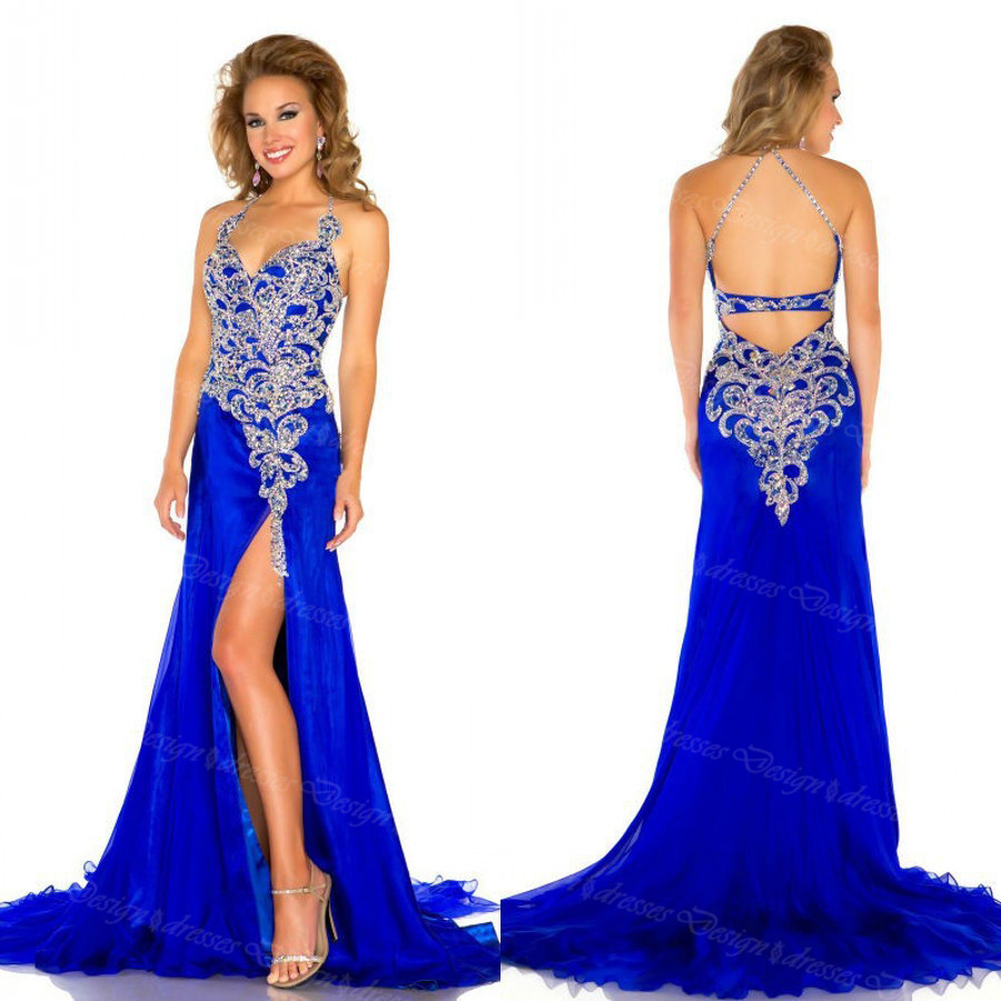Halter V Neck Royal Blue Prom Dresslong Chiffon Prom Dresses Side