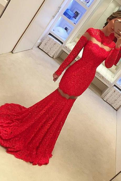 Long Sleeve Lace Red Sweep-Train Sexy Mermaid Prom Dress