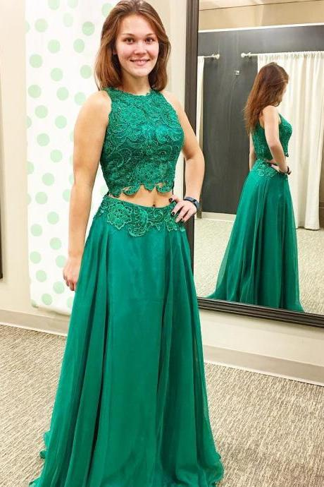 Elegant green prom dress two piece A-Line prom dresses 2018 High Collar Lace Applique Organza Long Formal Gowns Party Dresses Guest Gowns