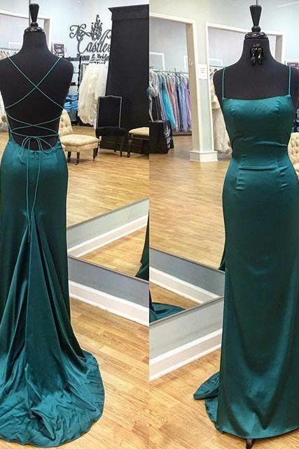 Sexy Straps Mermaid Long Dark Teal Prom Dress,Lace Up Evening Dress