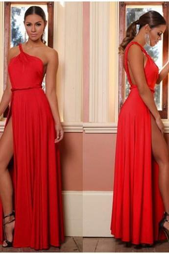 fashion red prom dress long evening dress