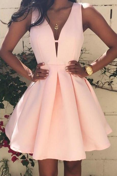 Pink Short Simple Homecoming Dresses,Cheap A-line V-neck Homecoming Dress,Homecoming Dresses,Short Prom Dresses