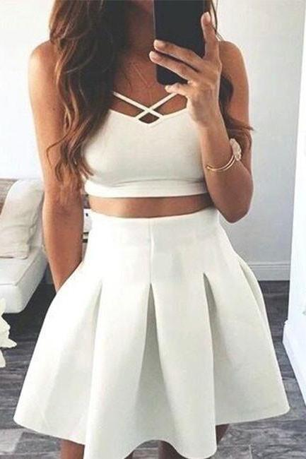 Cute A-line Two-Piece White Satin Short Homecoming/Prom Dress
